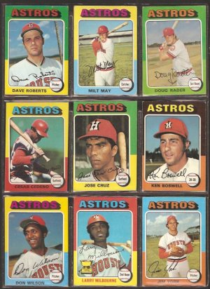 HOUSTON ASTROS 11 DIFF 1975 TOPPS CEDENO DON WILSON RADER CRUZ BOSWELL +