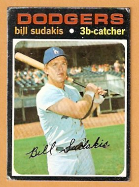 LOS ANGELES DODGERS BILL SUDAKIS 1971 TOPPS # 253 fair/good