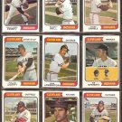 CLEVELAND INDIANS 20 DIFF 1974 TOPPS GAYLORD PERRY BUDDY BELL OSCAR GAMBLE LOWENSTEIN DUFFY TIDROW