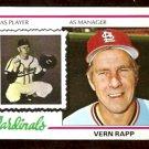 ST LOUIS CARDINALS VERN RAPP 1978 TOPPS # 324 VG