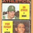 OAKLAND ATHLETICS ROOKIE STARS JIM DRISCOLL ANGEL MANGUAL 1971 TOPPS # 317 fair