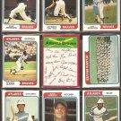 ATLANTA BRAVES 16 DIFF 1974 TOPPS DAVE JOHNSON RALPH GARR TEAM CARD OATES CASANOVA  PEREZ MORTON +