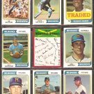 MILWAUKEE BREWERS 10 DIFF 1974 TOPPS JIM SLATON DON MONEY FELIPE ALOU BILL PARSONS KEN BERRY +