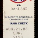 OAKLAND ATHLETICS BOSTON RED SOX 1988 TICKET STUB MARK McGWIRE HR DENNIS ECKERSLY SAVE
