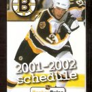 BOSTON BRUINS 2001-02 POCKET SCHEDULE BILL GUERIN PHOTO HOCKEY RULES