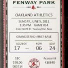 OAKLAND ATHLETICS BOSTON RED SOX 2011 TICKET CARL YASTRZEMSKI YAZ PHOTO ADRIAN GONZALEZ HR PEDROIA