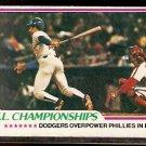 N.L. CHAMPIONSHIP LOS ANGELES DODGERS PHILADELPHIA PHILLIES 1978 TOPPS # 412 EX
