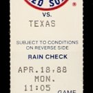 TEXAS RANGERS BOSTON RED SOX 1988 TICKET JIM RICE & DWIGHT EVANS 2 HITS PETE O'BRIEN 2 HR