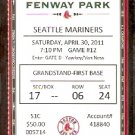 SEATTLE MARINERS BOSTON RED SOX 2011 TICKET ICHIRO 2 HITS