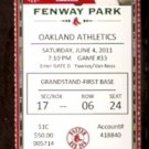 OAKLAND ATHLETICS BOSTON RED SOX 2011 TICKET ADRIAN GONZALEZ HR JACOBY ELLSBURY CARL CRAWFORD 4 HITS