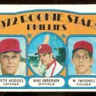 PHILADELPHIA PHILLIES ROOKIE STARS PETE KOEGEL MIKE ANDERSON WAYNE TWITCHELL 1972 TOPPS # 14 VG