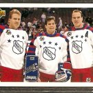 NEW YORK RANGERS BRIAN LEETCH MARK MESSIER MIKE RICHTER ALL STAR CL 1991 UPPER DECK # 610