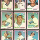 1978 TOPPS SEATTLE MARINERS TEAM LOT 24 DIFF DAVE COLLINS JULIO CRUZ RC JIM ABBOTT +