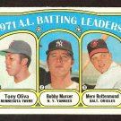 BATTING LDRS TWINS TONY OLIVA NEW YORK YANKEES BOBBY MURCER BALTIMORE ORIOLES 1972 TOPPS # 86 EX/EM