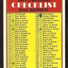 2nd SERIES CHECKLIST 1972 TOPPS # 103 VG marked