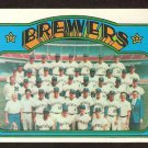 MILWAUKEE BREWERS TEAM CARD 1972 TOPPS # 106 EX