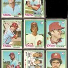 1978 TOPPS PHILADELPHIA PHILLIES TEAM LOT 17 DIFF STEVE CARLTON KAAT McGRAW McCARVER +