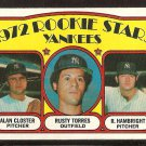 NEW YORK YANKEES ROOKIE STARS ALAN CLOSTER RUSTY TORRES ROGER HAMBRIGHT 1972 TOPPS # 124 NM