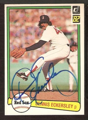 BOSTON RED SOX DENNIS ECKERSLEY AUTOGRAPHED 1982 DONRUSS # 30