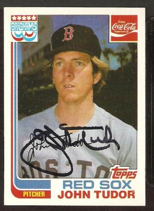 BOSTON RED SOX JOHN TUDOR AUTOGRAPHED 1982 TOPPS COCA-COLA COKE # 21 NM