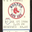 SEATTLE MARINERS BOSTON RED SOX 1986 TICKET WADE BOGGS JIM RICE +