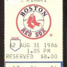 CLEVELAND INDIANS BOSTON RED SOX 1986 TICKET WADE BOGGS JIM RICE +