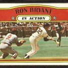 SAN FRANCISCO GIANTS RON BRYANT IN ACTION 1972 TOPPS # 186 VG+
