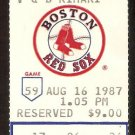 TEXAS RANGERS BOSTON RED SOX 1987 TICKET WADE BOGGS 4 HITS BURKS OWEN MARZANO HR