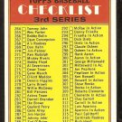 1972 TOPPS UNMARKED 3RD SERIES CHECKLIST # 251 VG/EX