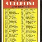1972 TOPPS UNMARKED 3RD SERIES CHECKLIST # 251 VG/EX
