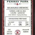MILWAUKEE BREWERS BOSTON RED SOX 2011 TICKET PRINCE FIELDER PEDROIA YOUKILIS MORGAN SCUTARO HR