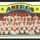 HOUSTON ASTROS TEAM CARD 1972 TOPPS # 282 EX