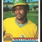 OAKLAND ATHLETICS MIKE EDWARDS RECORD BREAKER 1979 TOPPS # 201 EM/NM