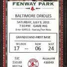 BALTIMORE ORIOLES BOSTON RED SOX 2011 TICKET ELLSBURY YOUKILIS REDDICK +