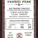 BALTIMORE ORIOLES BOSTON RED SOX 2011 TICKET LEE PEDROIA YOUKILIS SCUTARO HR