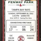 TAMPA BAY RAYS BOSTON RED SOX 2011 TICKET CARL YASTRZEMSKI AVILES ELLSBURY JOYCE