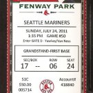 BOSTON RED SOX SEATTLE MARINERS 2011 TICKET 30 HITS JIM RICE ICHIRO YOUKILIS +