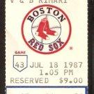 OAKLAND ATHLETICS BOSTON RED SOX 1987 TICKET JIM RICE CANSECO ELLIS BURKS +