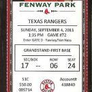 TEXAS RANGERS BOSTON RED SOX 2011 TICKET JOSH HAMILTON KINSLER NAPOLI