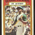 OAKLAND ATHLETICS REGGIE JACKSON IN ACTION 1972 TOPPS # 436 VG/EX