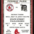 DETROIT TIGERS BOSTON RED SOX 2007 TICKET PAPELBON MANNY RAMIREZ YOUKILIS
