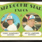 MONTREAL EXPOS ROOKIE STARS TERRY HUMPHREY KEITH LAMPARD 1972 TOPPS # 489 VG