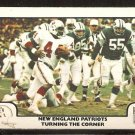 1977 FLEER # 17 NEW ENGLAND PATRIOTS TURNING THE CORNER JOHN HANNAH vs NEW YORK JETS VG