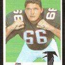 ATLANTA FALCONS JIM SIMON ROOKIE CARD RC 1969 TOPPS # 184 VG