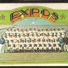 MONTREAL EXPOS TEAM CARD 1972 TOPPS # 582 VG