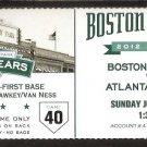 ATLANTA BRAVES BOSTON RED SOX 2012 TICKET HEYWARD CODY ROSS (2) GONZALEZ HR