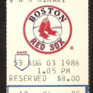 KANSAS CITY ROYALS BOSTON RED SOX 1986 TICKET JIM RICE HR WADE BOGGS GEORGE BRETT