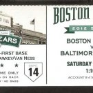 BALTIMORE ORIOLES BOSTON RED SOX 2012 TICKET ADAM JONES MARK REYNOLDS HR