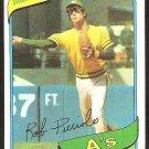 OAKLAND ATHLETICS ROB PICCIOLO 1980 TOPPS # 158 NR MT