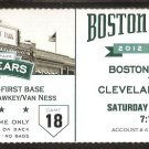 CLEVELAND INDIANS BOSTON RED SOX 2012 TICKET CODY ROSS HR DOUBRANT PEDROIA